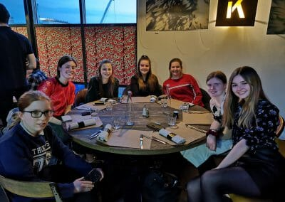 Students at restaurant table