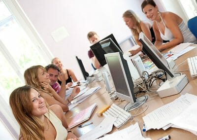 Studnets in computer lab at language school
