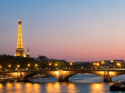 Eiffel Tower and Seine at dusk