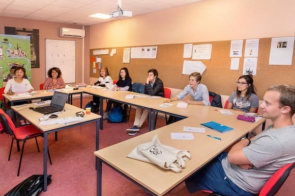 Classroom at the language school in Rouen