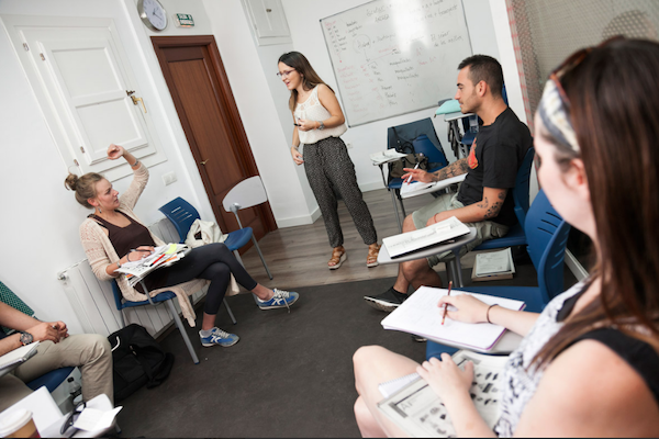 A classroom at the language school in Granada