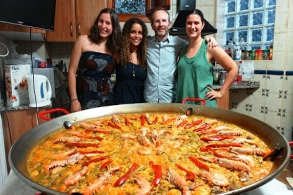 Paella in a host family kitchen
