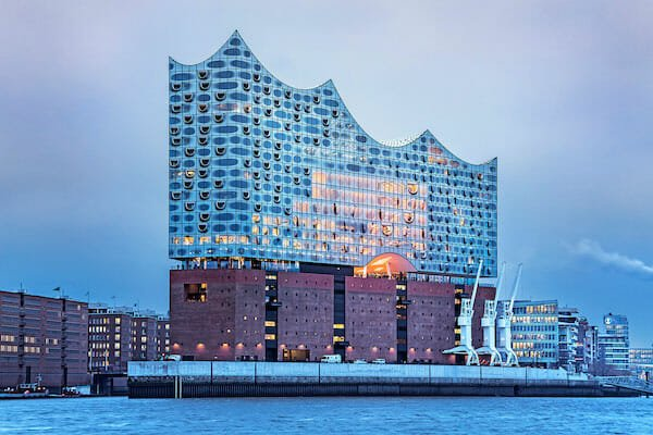 Elbphilharmonie concert hall in the Hafencity in Hamburg