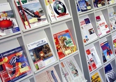 A display of German magazines at the language school in Hamburg