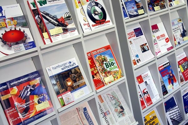 A display of German magazines at the language school in Hamburg